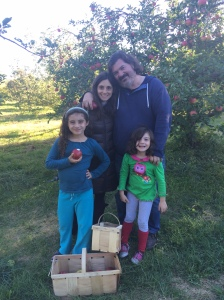 Michele and Geoff with their daughters at Hill Orchards.