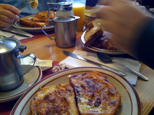 French toast and corned beef & hash at Oatley's Restaurant.