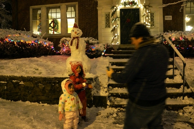 Making a snowman this winter at home in Providence.