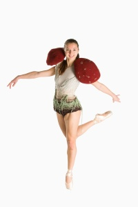 Mushroom Costume. Design by Brianne Benack. Photo by Matt Francis. In this photo: FBP Company Trainee Eugenia Zinovieva