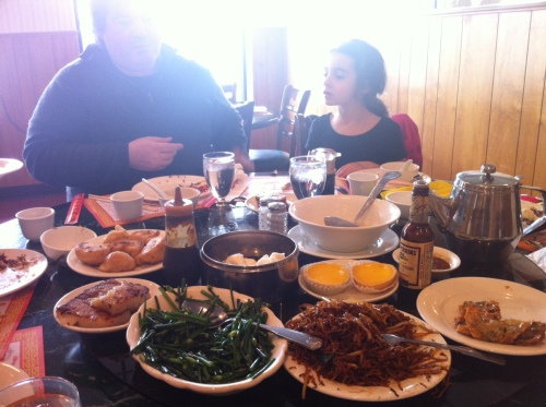 Our dim sum spread on the lazy susan.