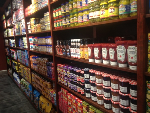One of the many stocked shelves at the new Gourmet Heaven on Meeting Street.
