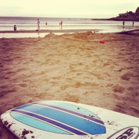 My surfboard on the sand