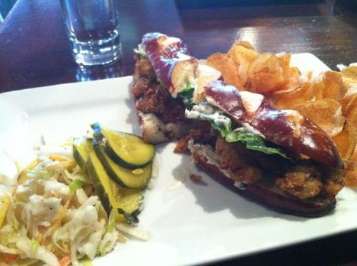 The Grange's Po' Boy sandwich.