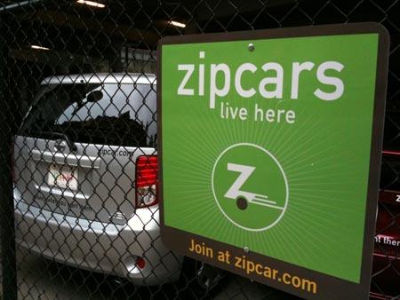 A zipcar in Downcity