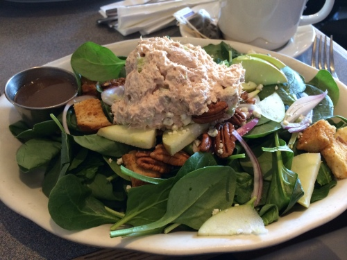 Spinach salad with apples, pecans, gorgonzola and balsamic dressing.