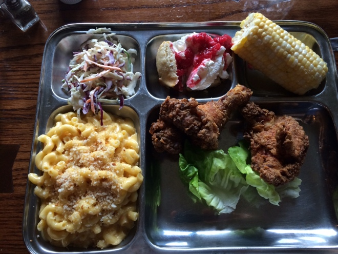 Fried chicken, cole slaw, fresh corn, creamy mac and cheese - this isn't the TV dinner I remember.