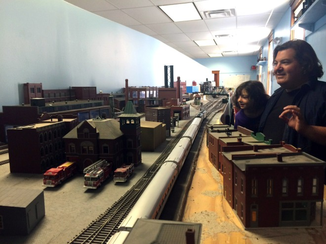 Admiring the trains in action