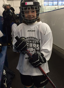 Our own little hockey player.